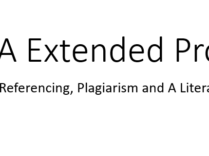 EPQ - Reference and Lit Review Lesson (Inc Kahoot Link)