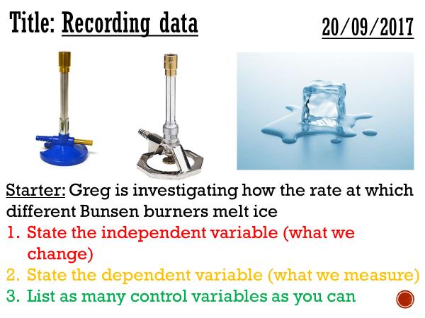 Recording data - complete lesson (KS3)