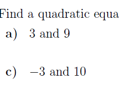 Sum and Product of Roots of Quadratic Equation worksheet no 3 (with solutions)