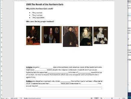 Elizabeth I Edexcel 2.1: Plots and Revolts at Home Worksheet