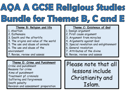 AQA A GCSE Religious Studies Theme B, C and E Bundle!