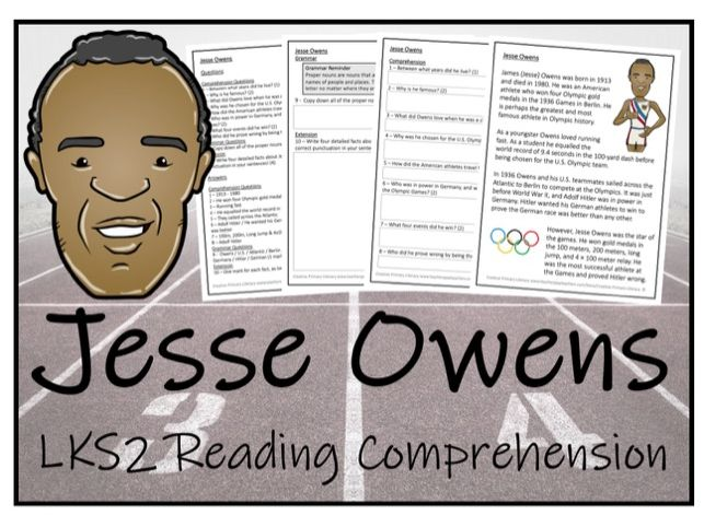 LKS2 History - Jesse Owens Reading Comprehension Activity