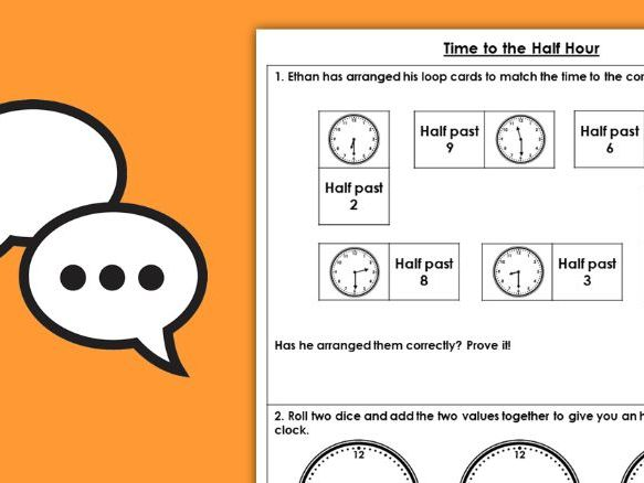 Year 1 Time to the Half Hour Summer Block 6 Maths Discussion Problems