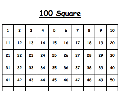 FREE 100 Square - Printable