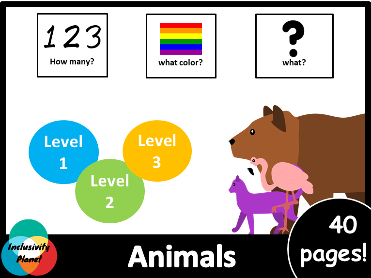 Animals HOW MANY, WHAT COLOR, WHAT? level 1, level 2 and level 3 books American Version