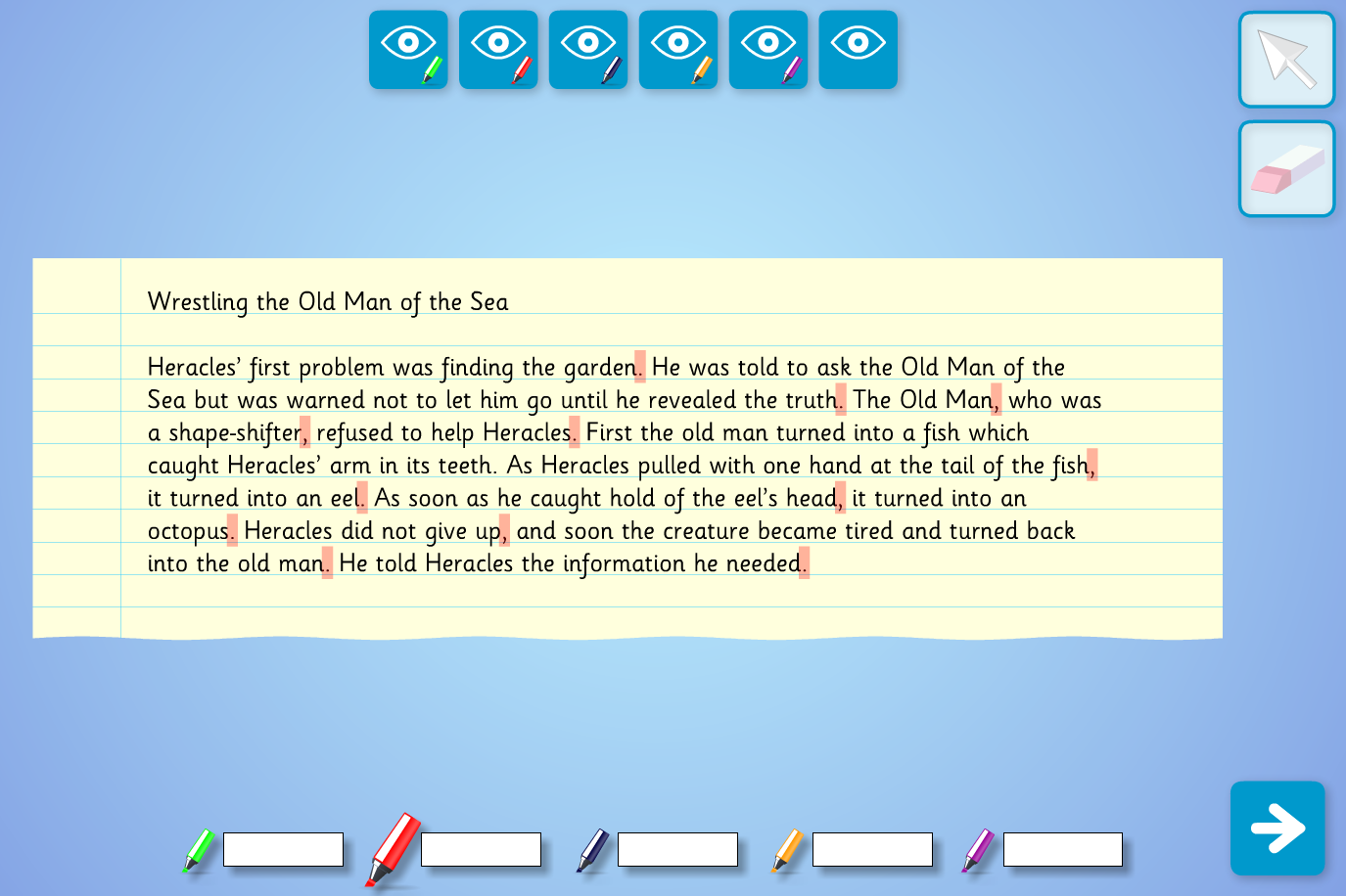 Interactive Highlighter Text Analysis  - Old Man of the Sea - KS2 Literacy