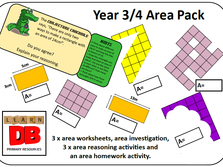 Year 3 & 4 Area Pack - counting squares, calculating area of rectangles, problem solving & reasoning
