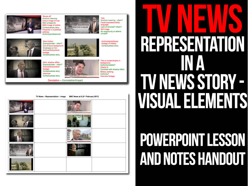 TV News - Representation in a TV News story - Visual elements PowerPoint lesson and handout