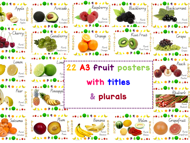 22 A3 Fruits Posters With Titles & Plurals Vic Modern Cursive Handwriting Font