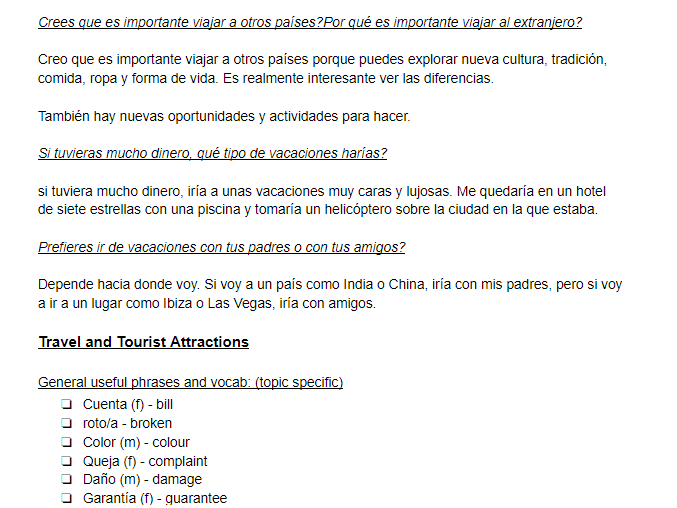GCSE Spanish: All Themes, Vocab and Example Answers