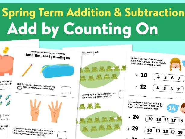 Add by counting on activities - Y1, Spring Term, Block 1 – Addition and Subtraction