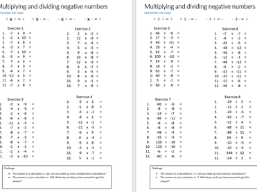 Multiplication and division using negative numbers