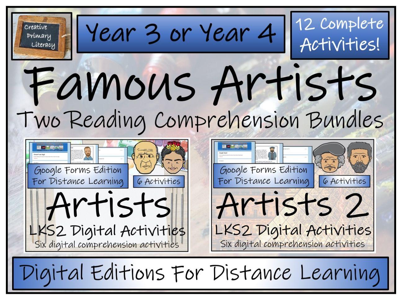 LKS2 Twelve Famous Artists Reading Comprehension & Distance Learning Bundle