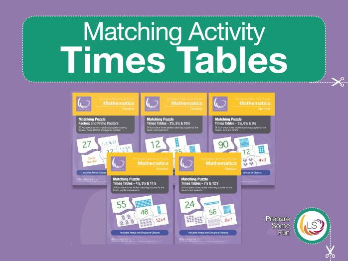 Times Tables Matching Puzzle BUNDLE