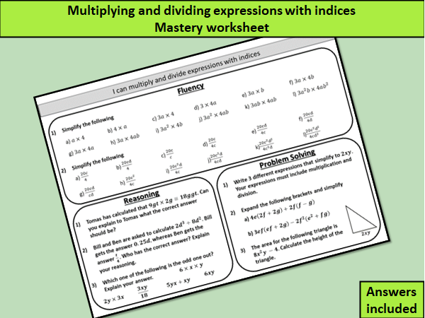Multiplying and dividing expressions with indices - mastery worksheet