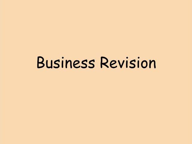 Business btec exam revision
