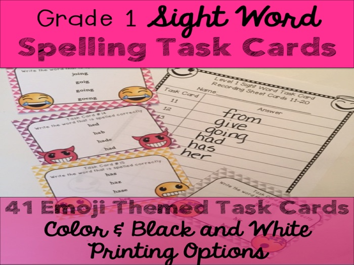 First Grade Sight Word Spelling Emoji Task Cards