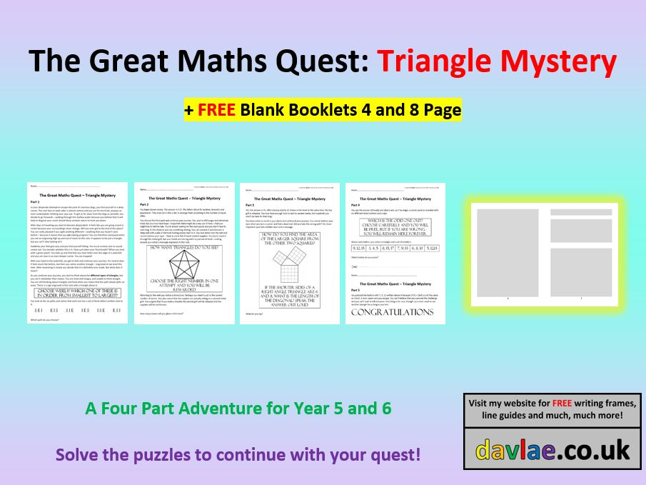 The Great Maths Quest - Triangle Mystery for Years 5 and 6 (+ FREE BLANK BOOKLETS 4 AND 8 PAGE)