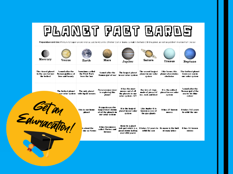 40 Planet Fact Cards Matching Game
