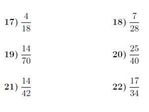 Simplifying fractions worksheet (with answers)