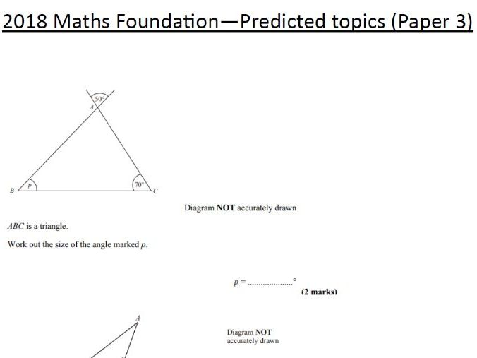 2018 Maths GCSE Predicted Paper 3 FOUNDATION questions with answers (12th June) Edexcel
