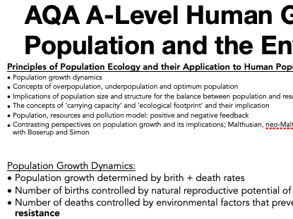 AQA A Level Geography: Population and the Environment - Principles of Population Ecology