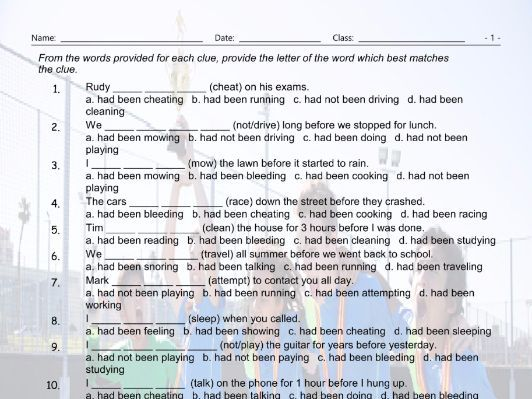 Past Perfect Continuous Tense Multiple Choice Worksheet