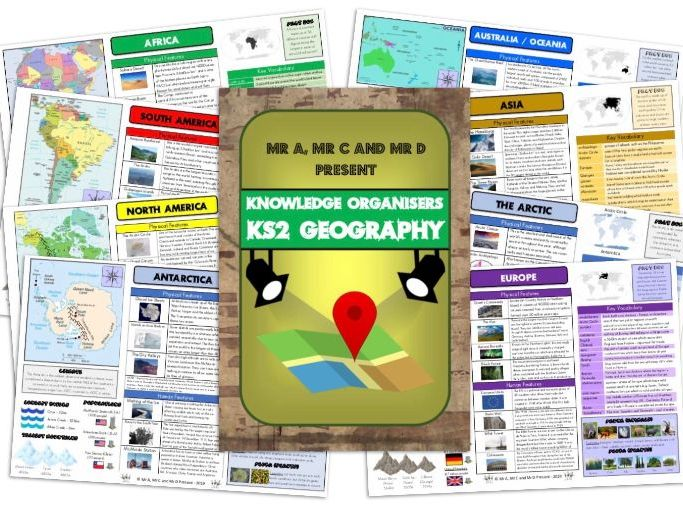 BUNDLE - KS2 Geography Continents Knowledge Organiser Pack and Editable Versions