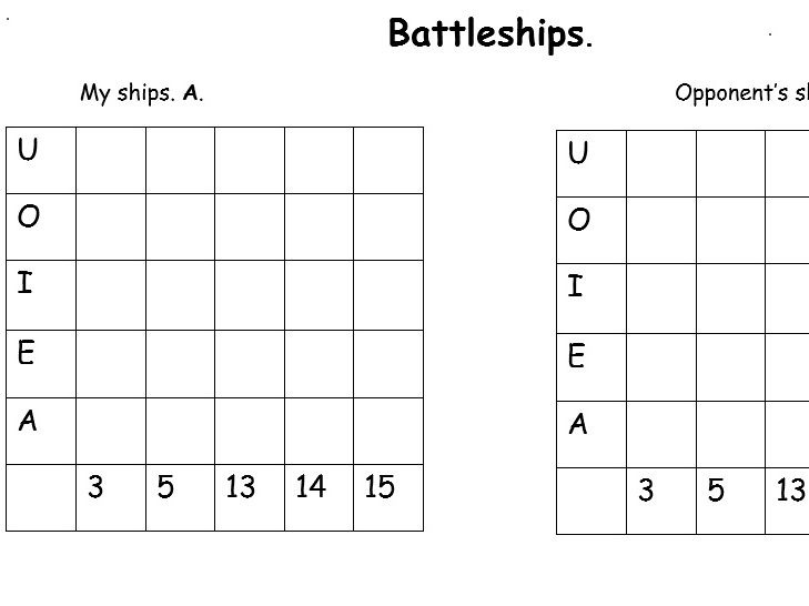 Battleships- vowels and numbers.