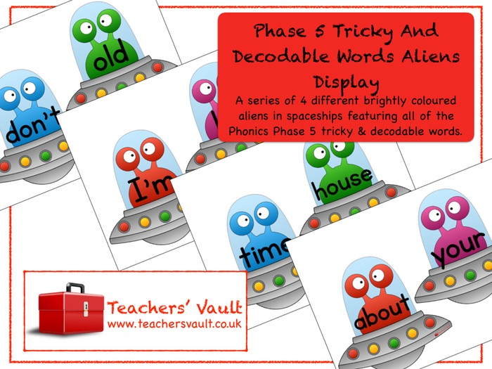 Phase 5 Tricky and Decodable Words Aliens Display