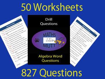 Drill Questions:  Algebra Word Questions