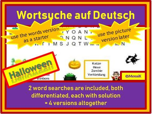 German, auf Deutsch - Halloween: differentiated word searches