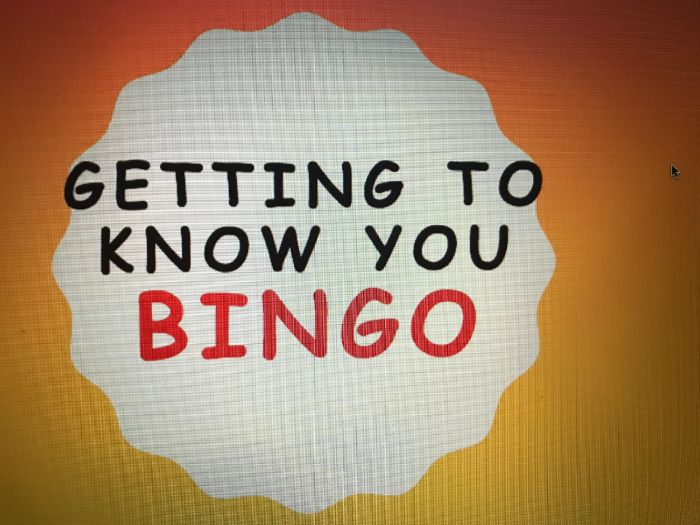 Bingo game - Getting to Know you