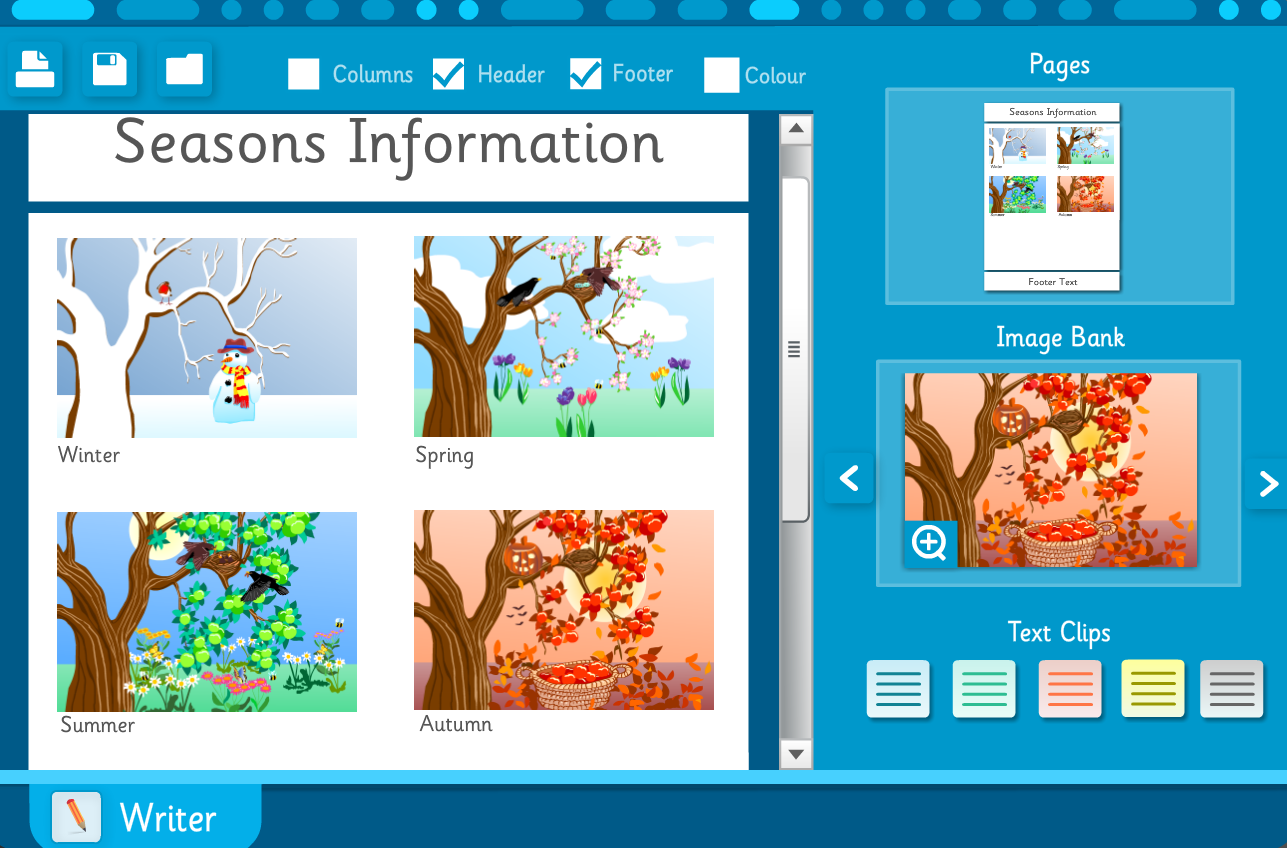 Seasons Information Sheet - Interactive Activity - KS2 Literacy