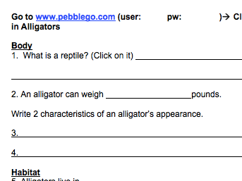 Alligators & Crocodiles PebbleGo Webquest