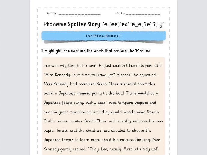 Phoneme Spotter Story 'E' Sounds: 'e', 'ee', 'ea', 'e_e', 'ie', 'i', 'y'
