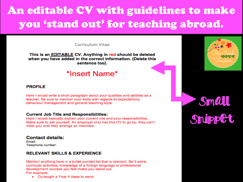CV: an editable template for securing a job at home or abroad.