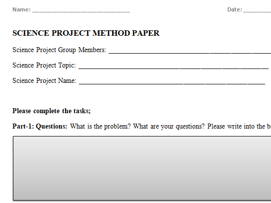 Scientific Method Report Worksheet