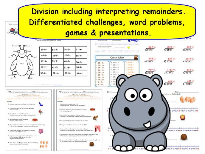 Large Selection of Division Resources Including Division With Remainders Differentiated Challenges.