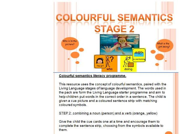 Colourful Semantics activity pack (30 cards) Stage 2 for SLD learners
