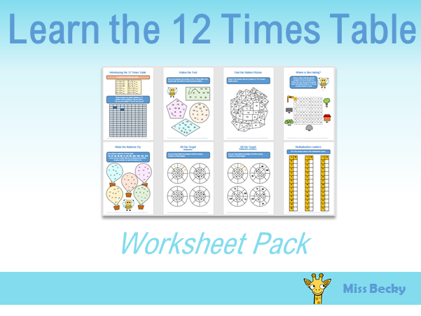 12 Times Table Worksheet Pack