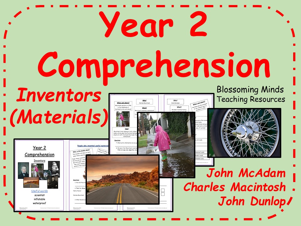 Year 2 Reading Comprehension Paper - Inventors (materials) - Science