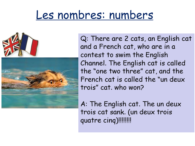 Les nombres - Numbers - French - Year 7