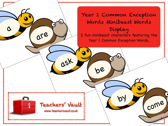 Year 1 Common Exception Words Minibeast Display