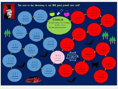 Year 3 and Lower KS2 column subtraction game and activity featuring Dr Doom