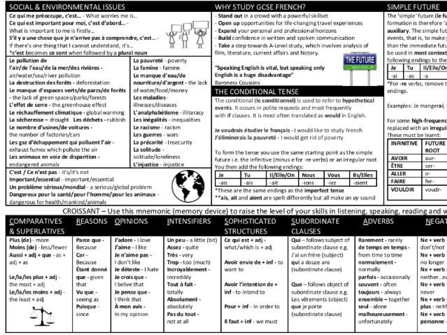 Year 9 French Social and Environmental Issues Knowledge Organiser