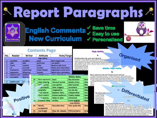 English Report Comment Paragraphs