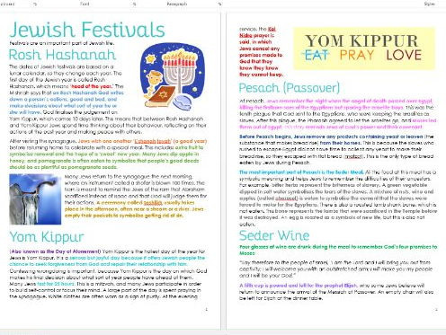 Judaism: Festivals Differentiated Information and Task Sheets