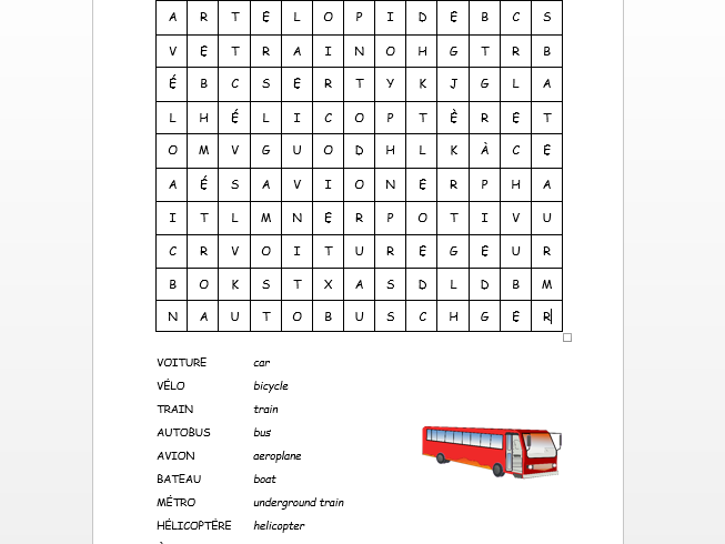 French transport wordsearch