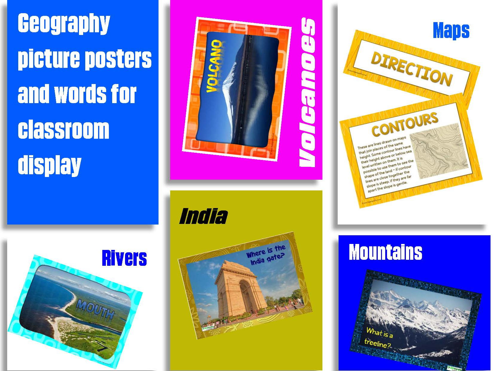 Geography picture displays for the classroom